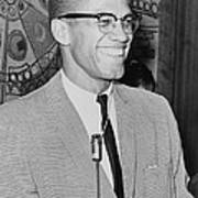 Malcolm X 1925-1965 Speaking In 1964 Print by Everett