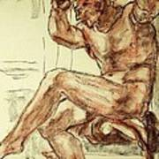 Male Nude Figure Drawing Sketch With Power Dynamics Struggle Angst Fear And Trepidation In Charcoal Print by MendyZ M Zimmerman