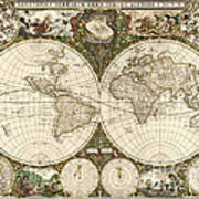 Map Of The World, 1660 Print by Photo Researchers