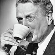 Mature Man Drinking Cup Of Coffee Print by George Marks