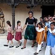 Michelle Obama Accompanied By Children Print by Everett