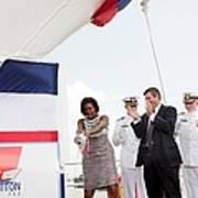 Michelle Obama Christens The Us Coast Print by Everett