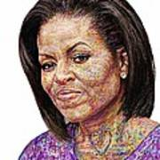 Michelle Obama With An Ipad Print by Edward Ofosu