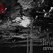 Midnight Raid Under The Red Moonlight Print by Wingsdomain Art and Photography