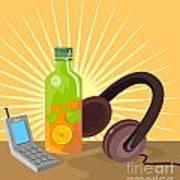 Mobile Phone Soda Drink Headphone Retro Print by Aloysius Patrimonio
