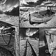 Montage Of Wrecked Boats Print by Meirion Matthias