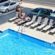 Motel Pool And Surroundings Print by Susan Stevenson