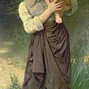 Mother And Child Print by William Adolphe Bouguereau