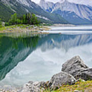 Mountain Lake In Jasper National Park Print by Elena Elisseeva