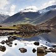 Mountains And Lake At Lake District Print by John Short