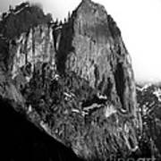 Mountains Of Yosemite . 7d6167 . Vertical Cut . Black And White Print by Wingsdomain Art and Photography