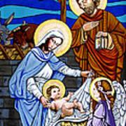 Nativity At Valley Ranch Print by Joan Garcia