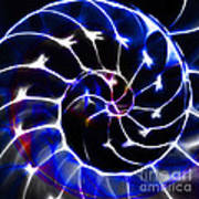 Nautilus Shell Ying And Yang - Electric - V1 - Blue Print by Wingsdomain Art and Photography