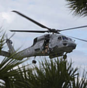 Navy Seals Look Out The Helicopter Door Print by Michael Wood
