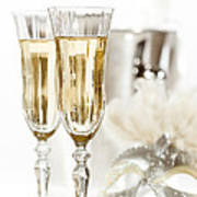 New Year Champagne Print by Amanda Elwell