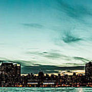 New Yorks Skyline At Night Ice 1 Print by Hannes Cmarits