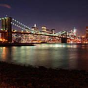 Nyc Brooklyn Nights Print by Nina Papiorek