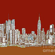 Nyc Red Sepia  Print by Adendorff Design