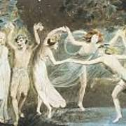 Oberon Titania And Puck With Fairies Dancing Print by William Blake