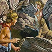 Oedipus Encountering The Sphinx Print by Roger Payne
