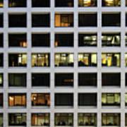 Office Building At Night Print by Lars Ruecker