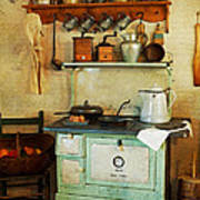Old Cast Iron Cook Stove Print by Carmen Del Valle