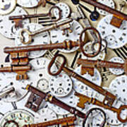 Old Keys And Watch Dails Print by Garry Gay