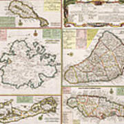 Old Map Of English Colonies In The Caribbean Print by German School