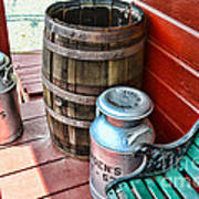 Old Milk Cans And Rain Barrel. Print by Paul Ward