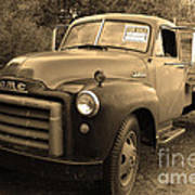 Old Nostalgic American Gmc Flatbed Truck . 7d9821 . Sepia Print by Wingsdomain Art and Photography
