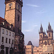 Old Town Square Prague At Sunset Print by Tom Wurl