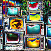 Old Tv's Abstract Print by Garry Gay