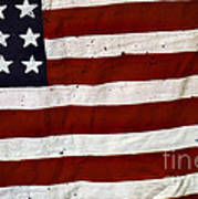 Old Usa Flag Print by Carlos Caetano