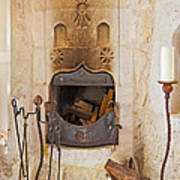 Olde Worlde Fireplace In A Cave  Print by Kantilal Patel