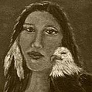 Onawa Native American Woman Of Wisdom With Eagle In Sepia Print by The Art With A Heart By Charlotte Phillips