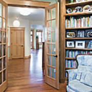 Open French Doors And Home Library Print by Andersen Ross