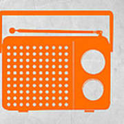 Orange Transistor Radio Print by Naxart Studio