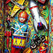 Painted Box Full Of Old Toys Print by Garry Gay