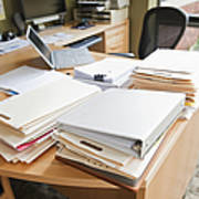 Paperwork On An Office Desk Print by Jetta Productions, Inc