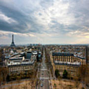 Paris And Eiffel Tower At Sunset Print by Philipp Kern