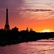 Paris Sunset Print by Mircea Costina Photography