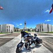 Patriot Guard Rider At The Houston National Cemetery Print by David Morefield