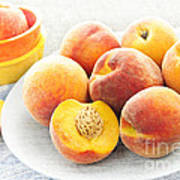 Peaches On Plate Print by Elena Elisseeva