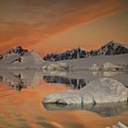 Peaks At Sunset Wiencke Island Print by Colin Monteath