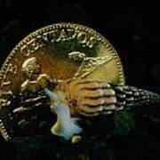 Philippine Gold Coin With Turret Shell Print by Paul Zahl