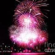 Pink Fireworks At Nyc Print by Archana Doddi