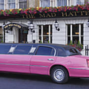Pink Limo Outside A Pub Print by Jeremy Woodhouse
