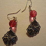 Pink Spider Earrings Print by Jenna Green