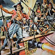 Pirates Preparing To Board A Victim Vessel  Print by American School
