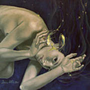 Pisces From Zodiac Series Print by Dorina  Costras